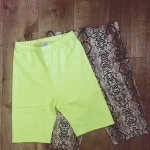 Pants - Neon Yellow Biker Shorts